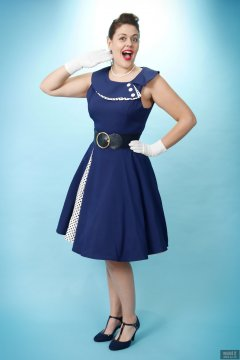 2018-12-15 Darcy Bennet in her own blue vintage style formal dress, and worn with tight  belt and white petticoat