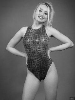 2019-01-12 Domii in blue crock-skin swimsuit, by M&S, from early 1990's