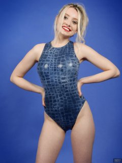 2019-01-12 Domii in blue crock-skin swimsuit, by M&S, from early 1990's