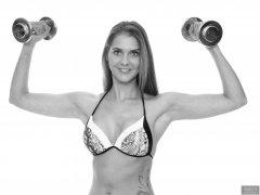 2019-02-10 JaySeaW in working-out, wearing her own black and white bikini.