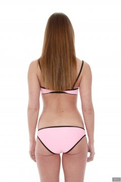 2019-02-10 JaySeaW in pink multi-coloured neoprene bikini set.