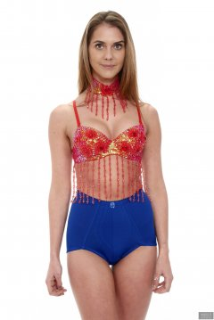 2019-02-10 JaySeaW in alternative Wonderwoman costume: Red dance-top and choker, and tight blue vintage-style pantie girdle worn as hotpants.