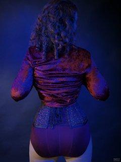 2019-03-30 Chiara in her own burgundy velvet top, and burgundy control briefs worn as hotpants
