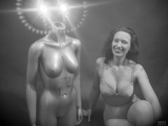 2019-03-30 Chiara in vintage silver Silhouette pantie-corselette, posing for some special effects