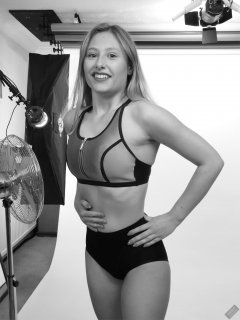 2019-05-04 Fabiene in black and silver neoprene sports top and black bum-lifter control briefs worn as hotpants