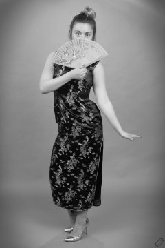 2019-05-04 CloEliza in black cheongsam dress