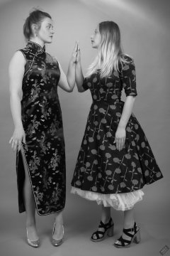 2019-05-04 CloEliza and Fabiene in dresses of contrasting styles
