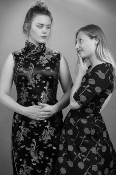 2019-05-04 Fabiene and CloEliza in dresses of contrasting styles