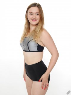"2019-05-04 CloEliza in black and silver neoprene sports top and black ""style 210"" vintage pantie girdle worn as hotpants"