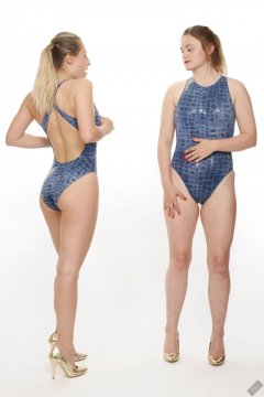 2019-05-04 Fabiene and CloEliza in 1980's blue crocskin one-piece swimsuits