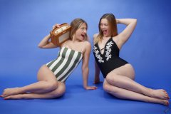2019-05-04 Fabiene and CloEliza in their own vintage-style one-piece swimsuits