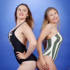 2019-05-04 CloEliza and Fabiene in their own vintage-style one-piece swimsuits
