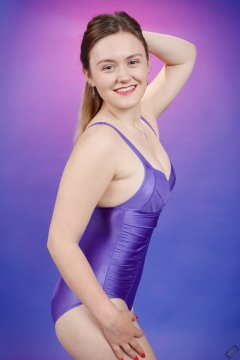 2019-05-04 CloEliza in purple vintage tummy-control one-piece swimsuit