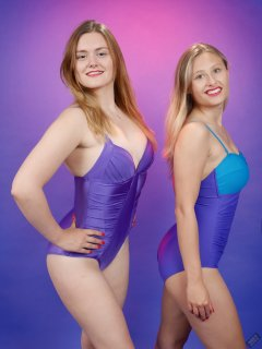 2019-05-04 CloEliza and Fabiene in purple vintage tummy-control one-piece swimsuits