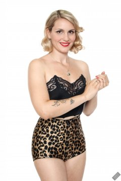2019-09-07 VZ-Retro - in black strapless bra top and animal print pantie girdle worn as hotpants