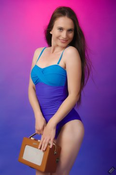 2019-09-21 Kristine Gold - in blue and purple vintage-style one-piece tummy-control swimsuit by M&S - with vintage Roberts RT-1 radio