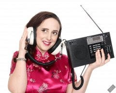 2020-01-04 Alex Allure in pink silk cheongsam, listening to Sony ICF2001 shortwave radio