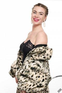 2020-01-18 Danni Moss in vintage animal-print fur coat