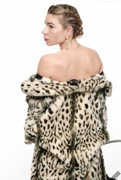 2020-01-18 Danni Moss in vintage animal-print fur coat