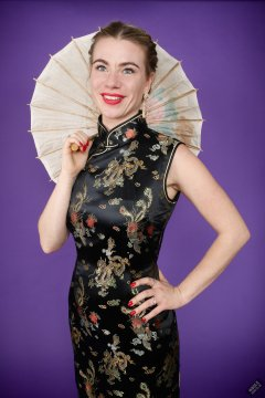 2020-01-18 Danni Moss in black full-length silk cheongsam dress