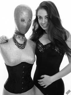 "2020-02-02 Jessica Maria with illuminated ""alien"" mannequin. Jessica wears  black strapless bra and high-waist control-briefs, worn as hotpants"