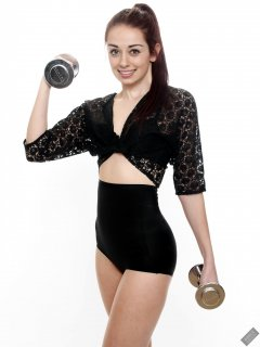 2020-02-02 Jessica Maria in vintage black lace top and tight black high-waist control briefs worn as hotpants