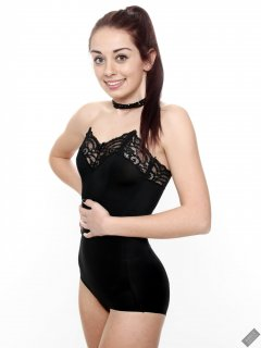 2020-02-02 Jessica Maria in black strapless bra and high-waist control-briefs, worn as hotpants