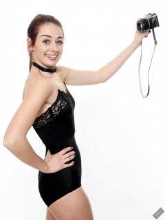 2020-02-02 Jessica Maria in black strapless bra and high-waist control-briefs, worn as hotpants