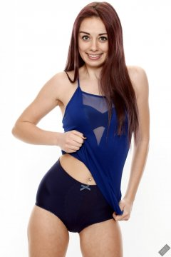 2020-02-02 Jessica Maria in her own blue dress, worn over matching blue vintage-style blue strapless bra and tummy-panel pantie girdle