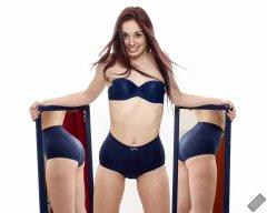2020-02-02 Jessica Maria mirror shot.. Jessica wears matching blue vintage-style blue strapless bra and tummy-panel pantie girdle