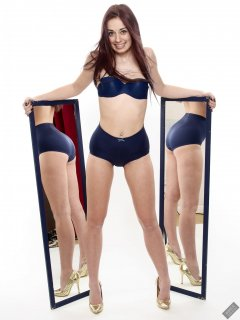 2020-02-02 Jessica Maria mirror shot.. Jessica wears matching blue vintage-style blue strapless bra and tummy-panel pantie girdle