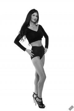 2020-03-08 LisaAnne in black crop top and vintage style black pantie girdle worn as hot pants