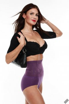 2020-03-08 LisaAnne in black posture bolero, black bra and high-waist violet girdle worn as hotpants