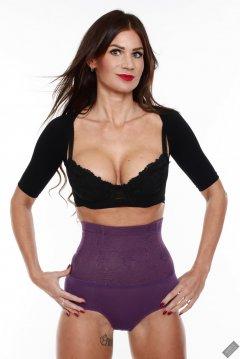 2020-03-08 LisaAnne in black posture bolero, black bra and high-waist violet girdle worn as hotpants