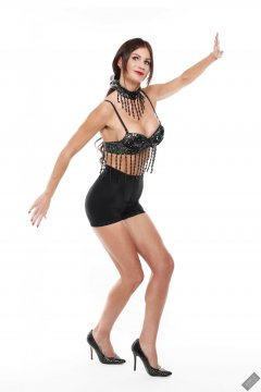 2020-03-08 LisaAnne in black jewelled dance top and tight black long leg pantie girdle worn as hotpants