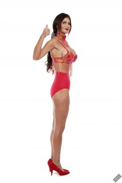 2020-03-08 LisaAnne in red jewelled dance top and red pocket girdle worn as hotpants