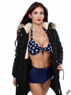 2020-03-08 LisaAnne in her own parka worn over blue and white polka dot bikini top and blue vintage style pantie girdle worn as hotpants
