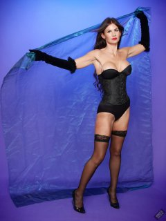 2020-03-08 LisaAnne in tightly-laced black underbust corset, worn over black Miraclesuit bodyshaper