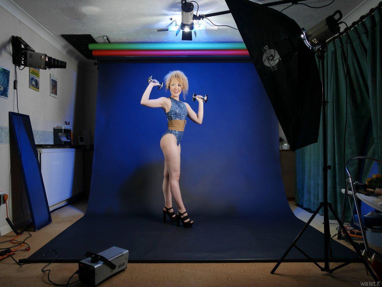 2015-08-14 Jazz in blue M&S croc skin swimsuit, studio long-shot