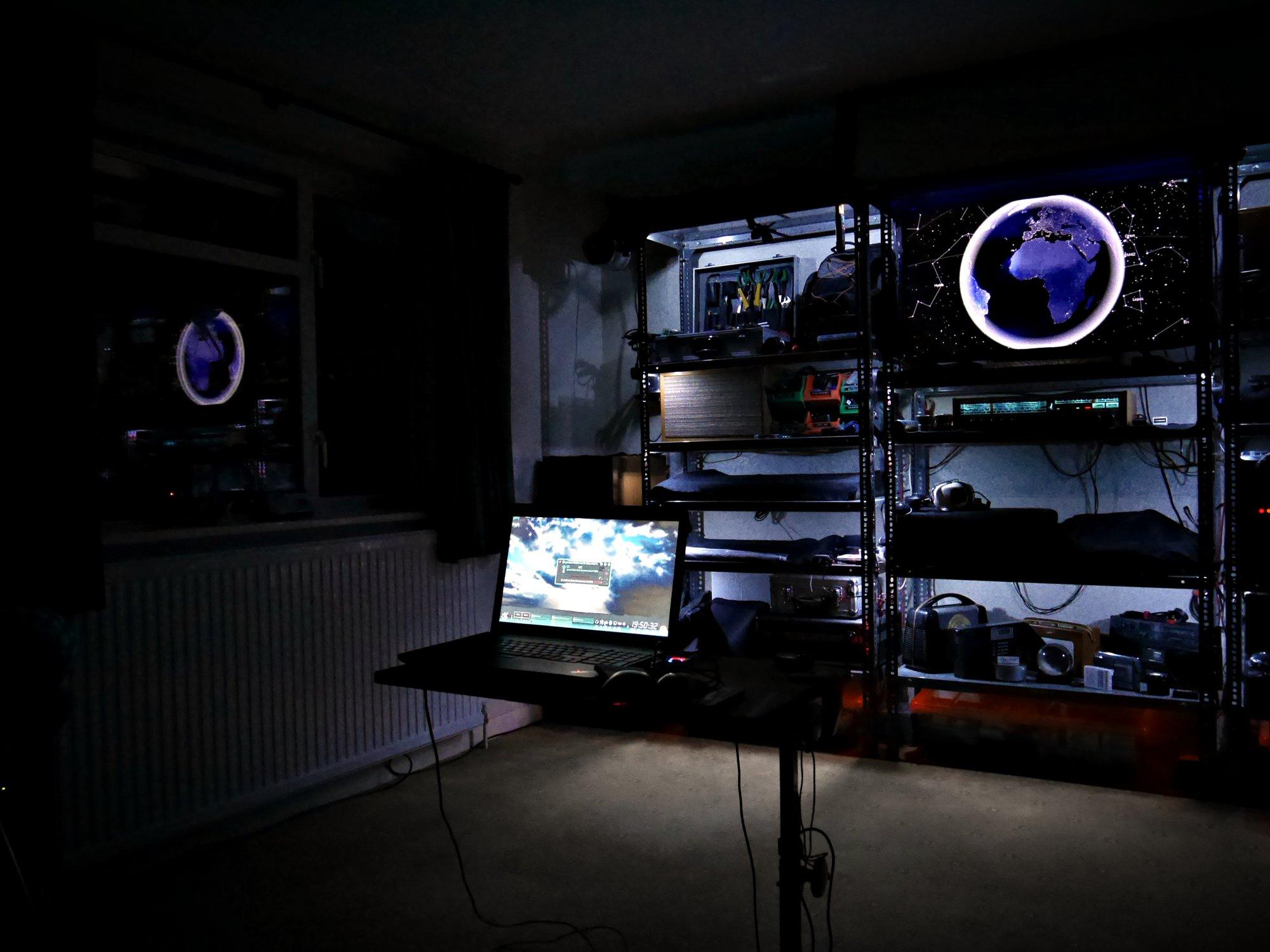 LED lighting demo. 2016-09-23 Studio at Night, long-shot