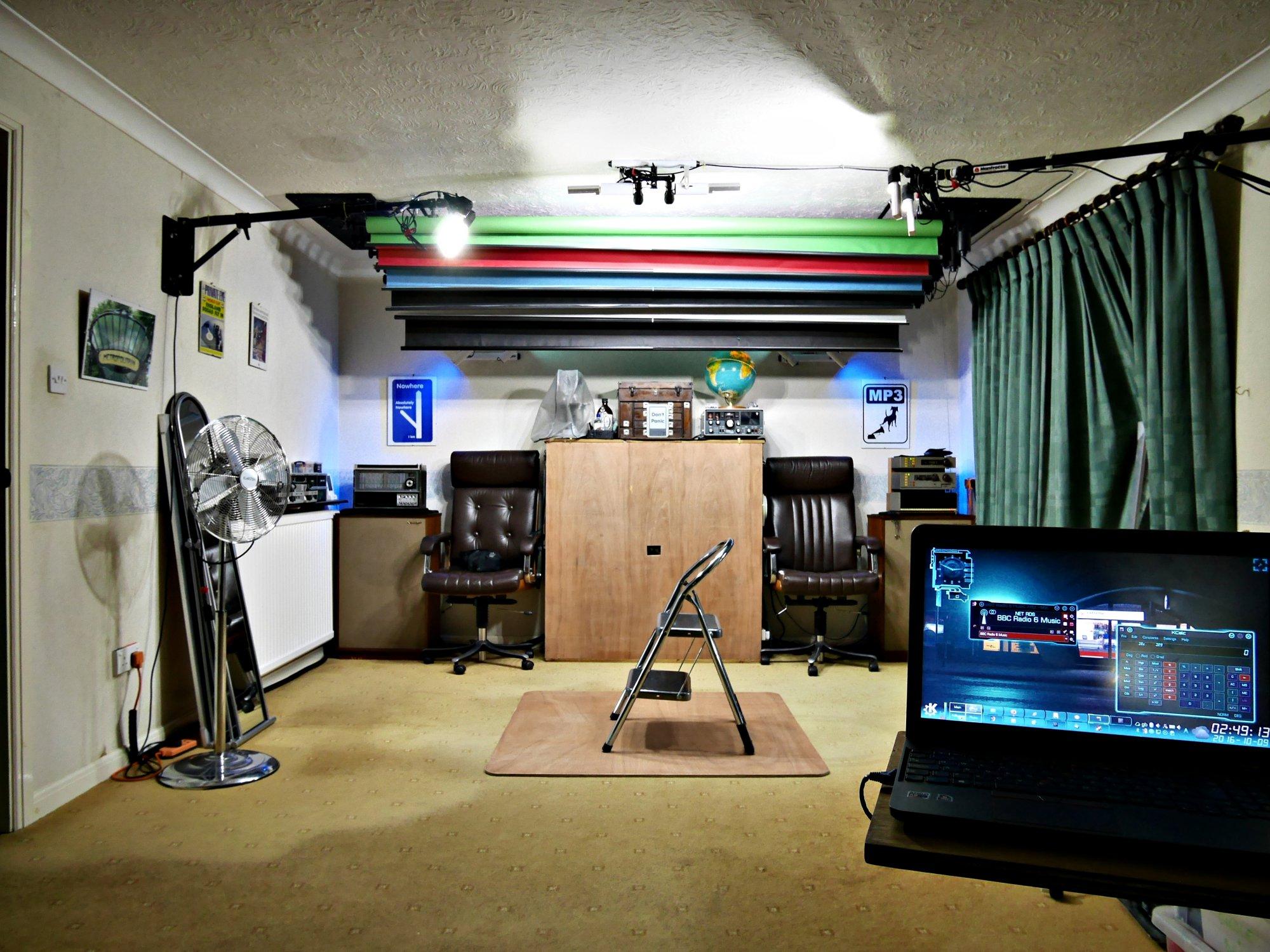LED lighting demo. 2016-10-09 LED continuous lighting, long-shot