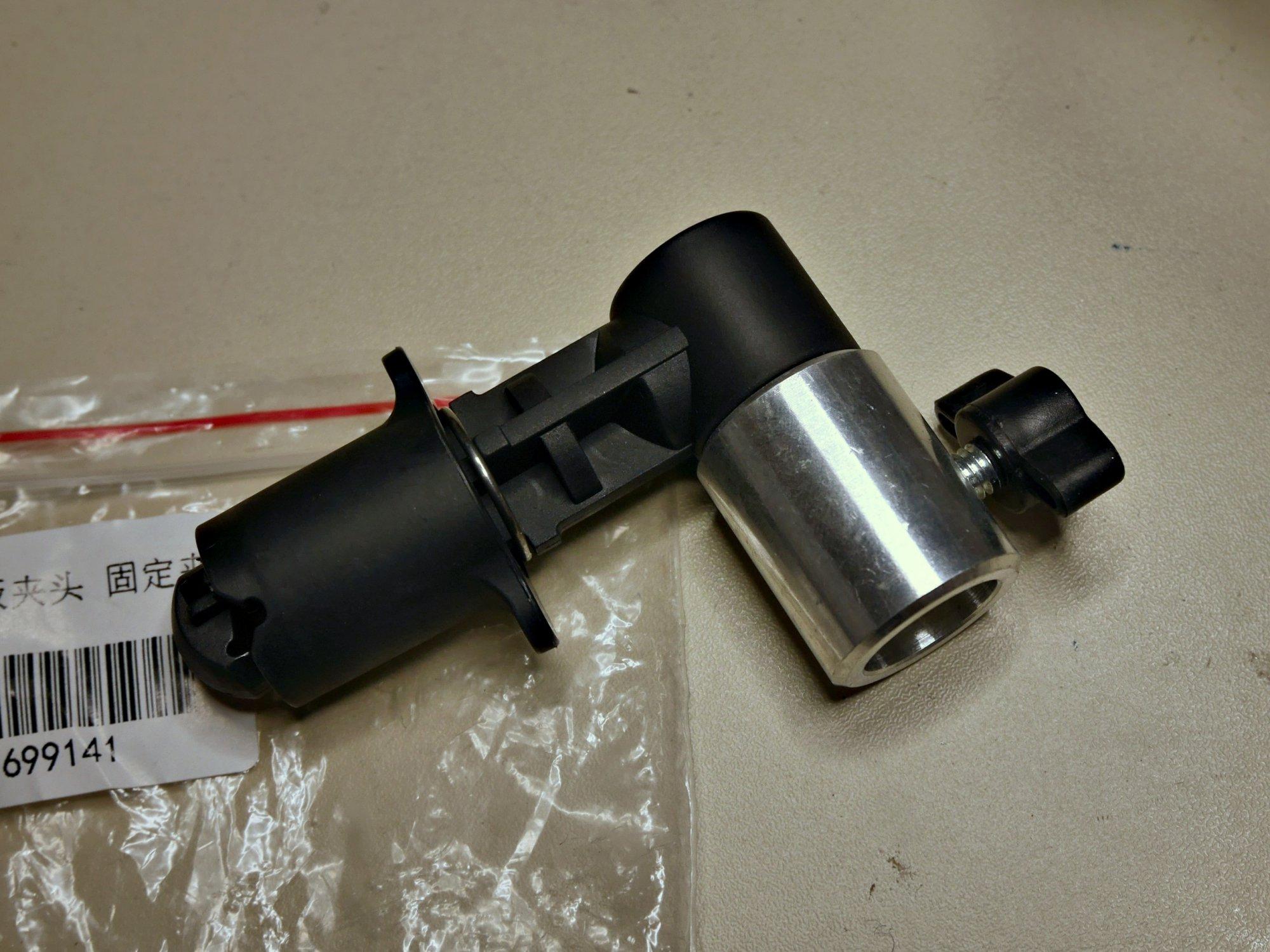 Original generic clamp - adapting daylight white Chinese LED floodlights for studio use.