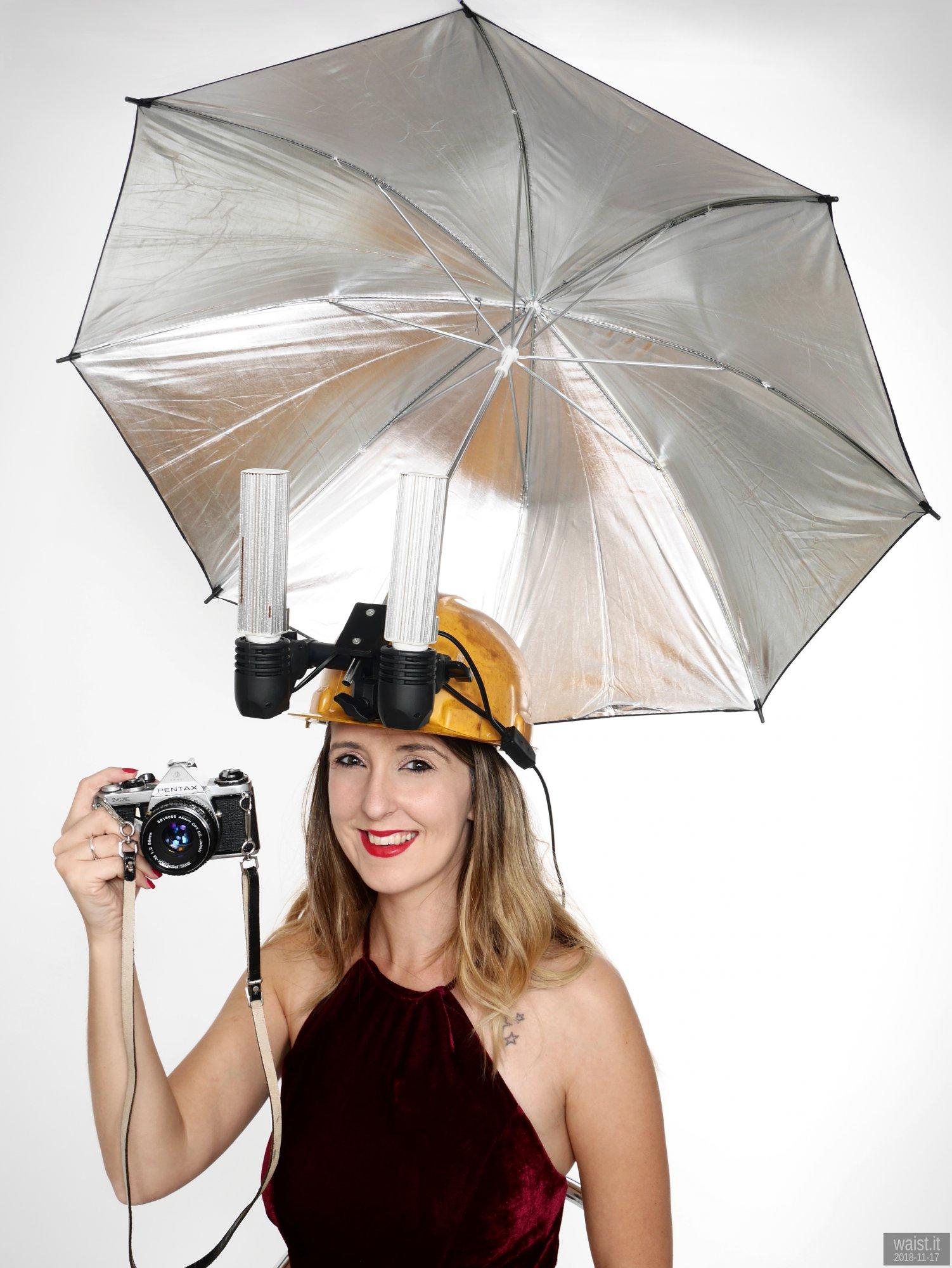 2018-11-17 Miss Cerise demonstrates  lighting helmet invention