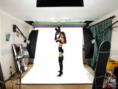 2017-01-28 Salina Pun black bra, girdle, opera gloves and patent leather thigh boots, studio long-shot