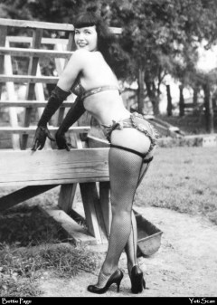Bettie Page gloved outdoors