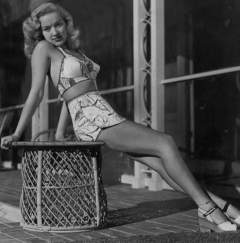 influences: Betty Grable in tight two-piece swimsuit