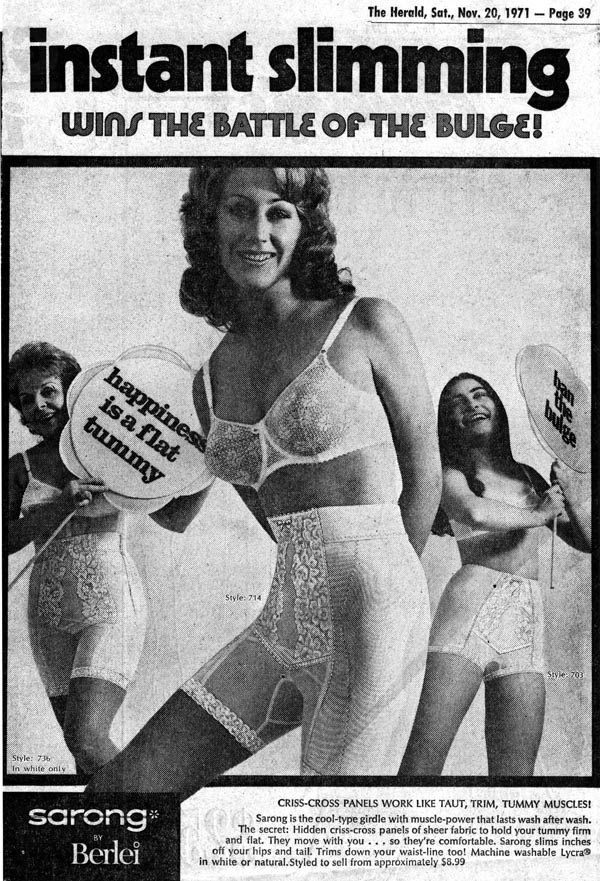 influences: Sarong happiness is a flat tummy ad, 1971-11