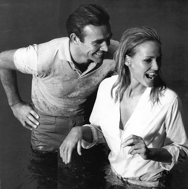 influences: Sean Connery and Ursula Andress monochrome