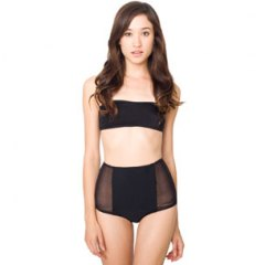 Micro mesh nylon tricot high-waist brief