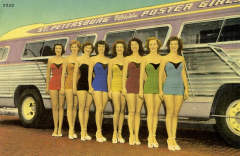 Bathing Beauties Standing by a Bus